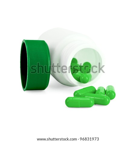 Capsules green in a white bottle, green cap isolated on white background - stock photo