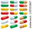 Capsules. Set of many color Pharmaceutical capsules - stock photo