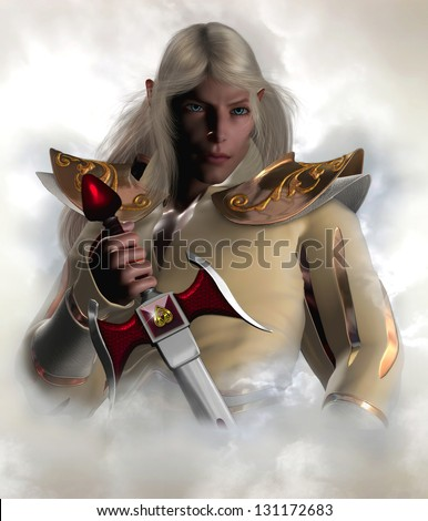 Captain of the Guard. Handsome male elf character with long blonde hair holding an elven sword surrounded by clouds. - stock photo