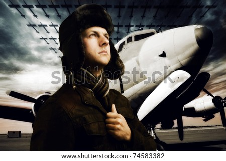 Captain of the skies. Heroic pilot, retro. Soft dreamy look, grain for effect. - stock photo