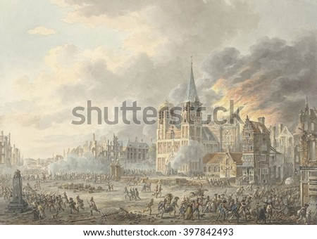 Capture of a City by French troops, by Dirk Langendijk, 1801, Dutch painting, watercolor on paper. From 1795 to 1813, Arnhem was occupied by the French during the Napoleonic Wars - stock photo