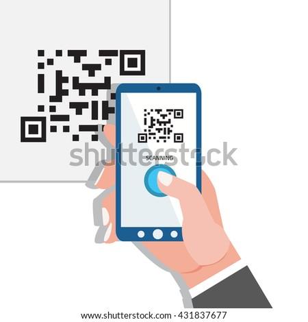 Capture QR code. Phone in hands. - stock photo