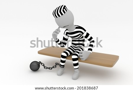 Captured prisoner with prison ball is sitting on the bench - 3D model - stock photo