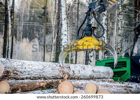 Captures a timber loader, stack of log . - stock photo