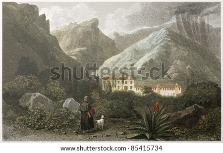 Capuchin Convent old view, Taormina surroundings, Sicily, Created by De Wint and Health, printed by McQueen, publ. in London, 1821. Ed. on Sicilian Scenery, Rodwell and Martins, London, 1823 - stock photo
