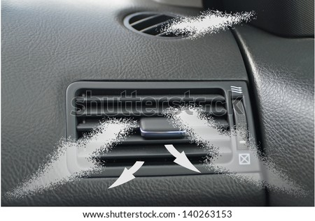 car accessories ducting air conditioning arrow  vents - stock photo