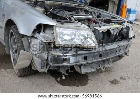 Car accident - a series of crashed car images. - stock photo