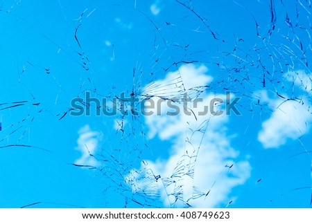 Car accident. Broken cracked automobile windshield glass  - stock photo