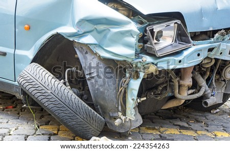 Car accident, front damage - stock photo