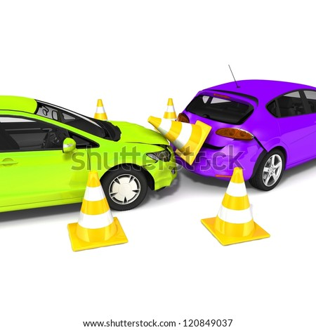 Car accident. Isolated On White Background - stock photo