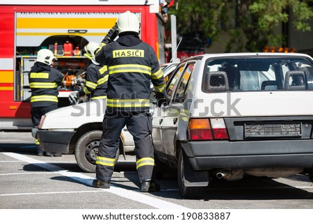 Car accident rescue drill  - stock photo