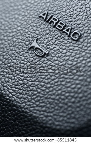 Car Airbag. Vehicle Steering Wheel Airbag System and Honk Sign. - stock photo
