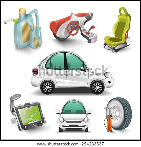 Car and accessories illustration - stock photo