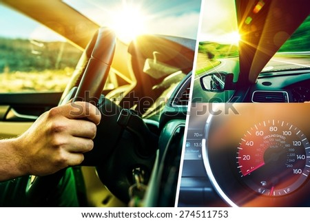 Car and Driver Concept Collage. Sunny Road Car Trip. Modern Transportation Theme. - stock photo