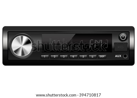 Car audio. Media receiver.   illustration isolated on white background. Raster version - stock photo