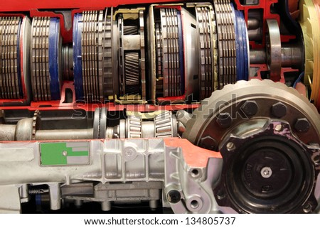 car automatic gear transmission close up - stock photo