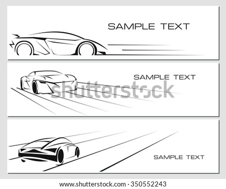 Car banners set isolated on white background - stock photo