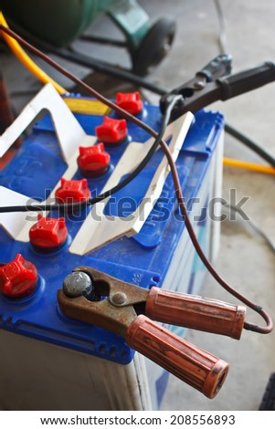 car battery charging - stock photo