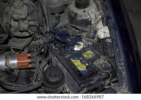 Car battery exploded - stock photo