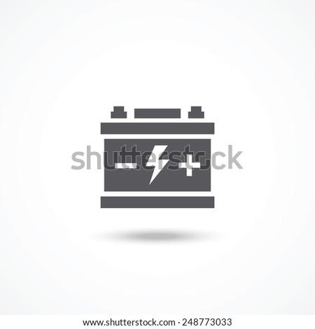 Car battery icon - stock photo