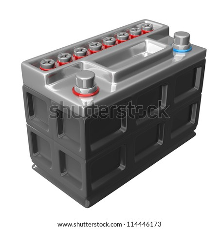 car battery isolated on a white background High resolution 3D render - stock photo