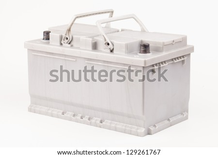 Car battery  isolated on white - stock photo
