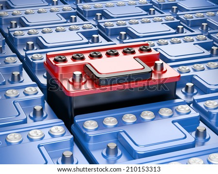 Car battery isolated on white background. 3d image. - stock photo