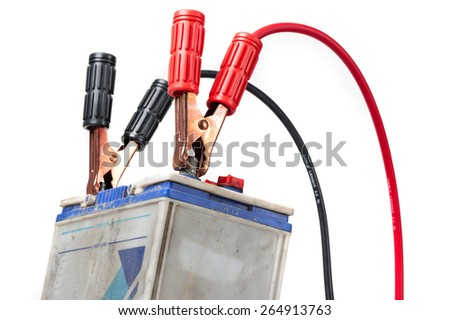 car battery with jumper cable isolated on white background - stock photo