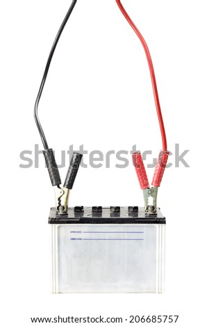 Car battery with jumper cables - stock photo