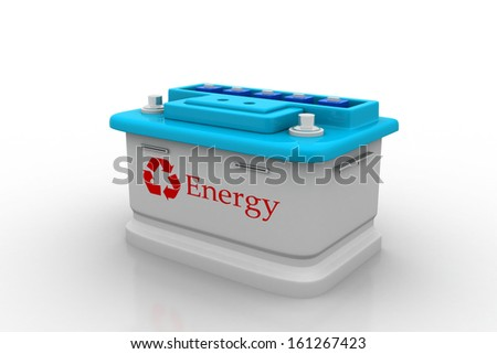 Car battery with recycle sign - stock photo