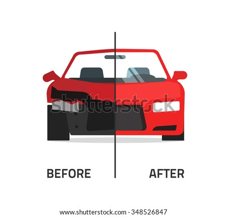 Car body frame repair illustration, auto body paint concept, automobile service, vehicle automotive technology help, before after, flat icon isolated on white badge, poster design banner emblem image - stock photo