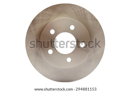 Car brake discs on white isolated background - stock photo