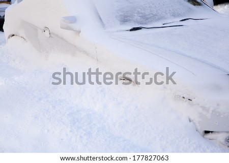 Car buried in deep snow at New York City in winter - stock photo