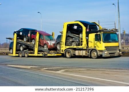 Car carrier truck - stock photo