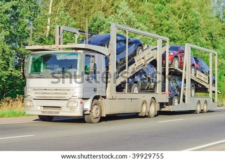 Car carrier truck # 19 of car carrier series - stock photo