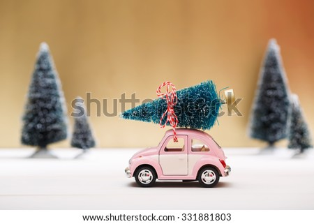 Car carrying a Christmas tree in a snow covered miniature evergreen forest - stock photo