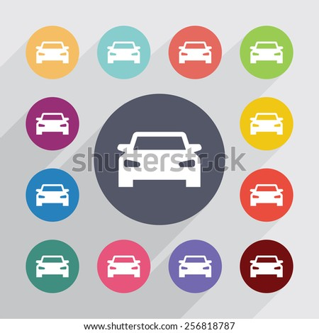 car circle, flat icons set. Round colorful buttons