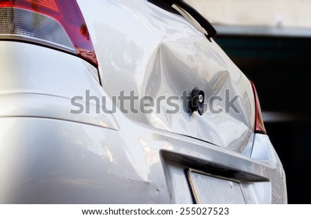Car crash, be hollow on the body car, vibrant color light and defocus - stock photo