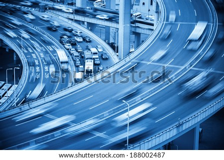 car crash closeup and busy traffic on the bridge approach  - stock photo