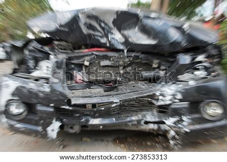 Car crash damage portrayals may be broken - stock photo