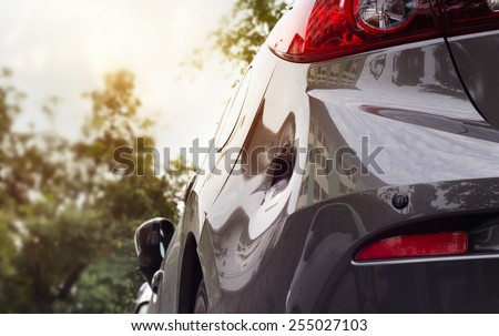 Car crash, distort and be hollow on the body car, vibrant color style  - stock photo