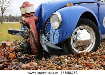 Car crashed on a fire water hydrant - stock photo