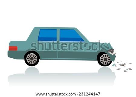 car crush, crushed car - stock photo