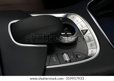 Car dashboard control buttons. Interior background. - stock photo