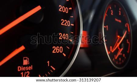 Car Dashboard Night View - stock photo
