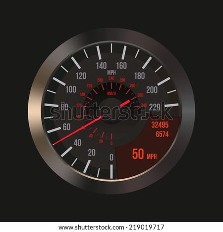 Car Dashboard Panel Speedometer isolated. Illustration - stock photo