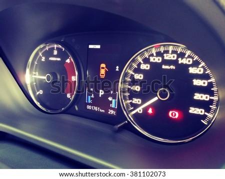 Car dashboard style vintage tone. - stock photo