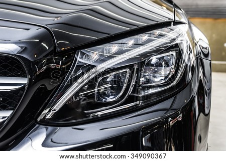 Car detailing series : Clean black car - stock photo