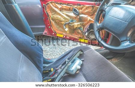 car door fix and change a part. - stock photo