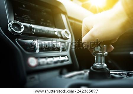 Car Drive Manual Shifting Transmission. Manual Transmission Gear Shifting. - stock photo